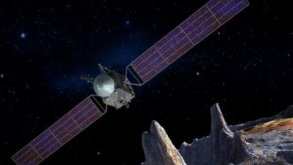 Concepto artístico de la nave espacial Psyche que realizará una exploración del asteroide - Sputnik Mundo