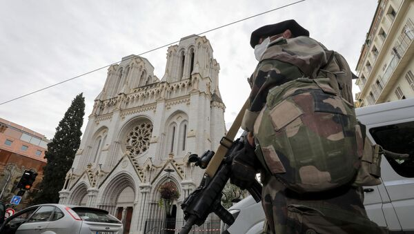 Un solado cerca de la catedral de Notre Dame tras el ataque con cuchillo en Niza, Francia - Sputnik Mundo
