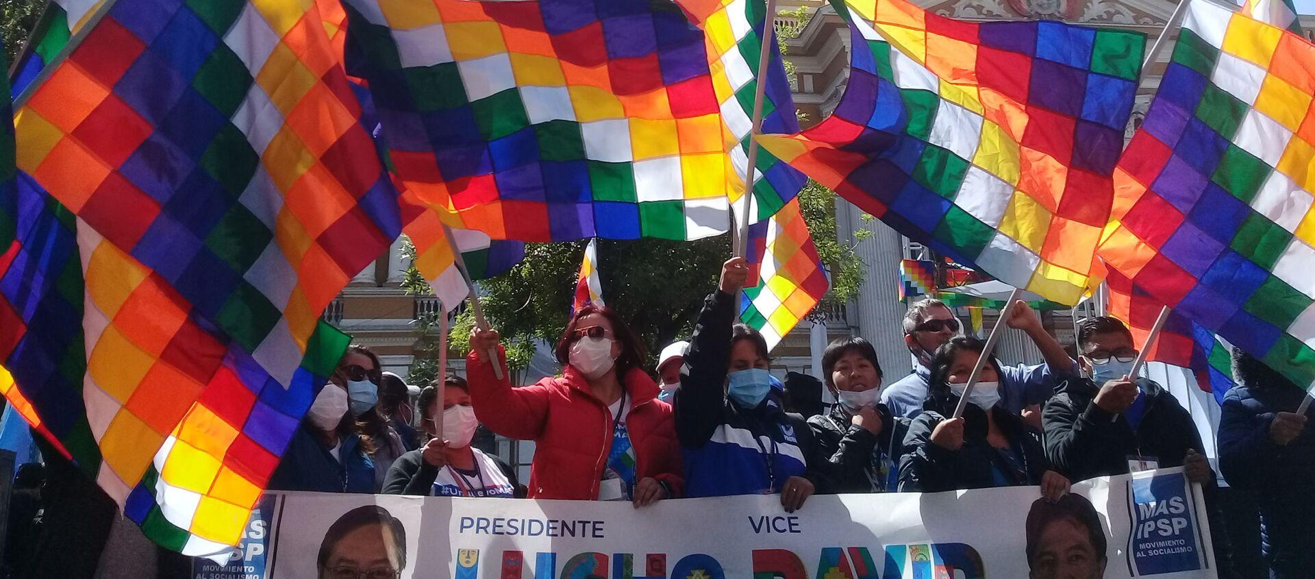 Seguidores de Luis Arce y del Movimiento Al Socialismo durante su asunción en Bolivia - Sputnik Mundo, 1920, 21.12.2020