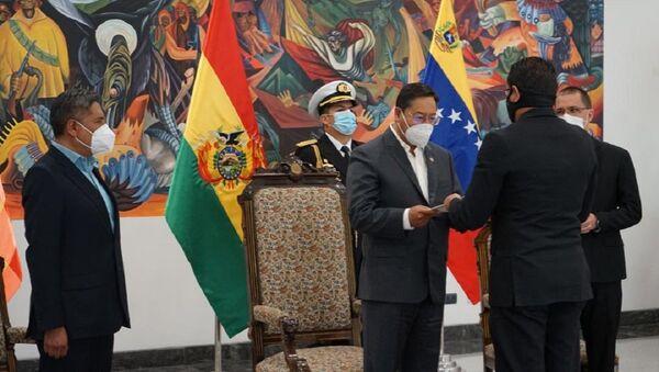 Embajador de Venezuela en Bolivia, Alexander Yáñez, entrega sus cartas credenciales al presidente de esa nación, Luis Arce - Sputnik Mundo