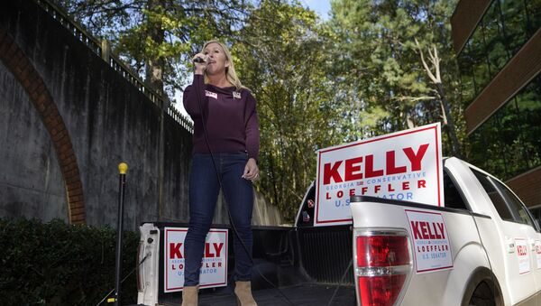 La congresista electa por Georgia Marjorie Taylor Greene durante una acto de campaña en 2020 - Sputnik Mundo