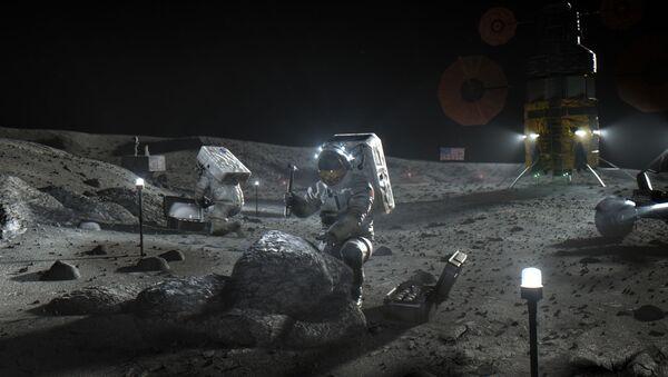Ilustración de los astronautas del programa Artemisa en la Luna - Sputnik Mundo