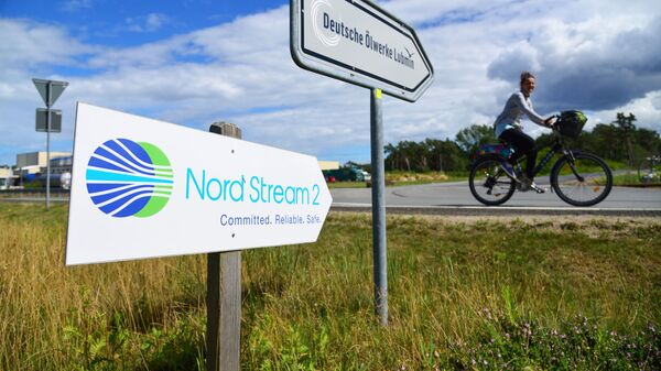 Una señal de Nord Stream 2 en Alemania - Sputnik Mundo