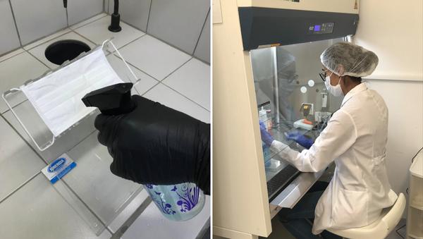 Científica de la Unicamp prueba el spray repelente de COVID-19 - Sputnik Mundo