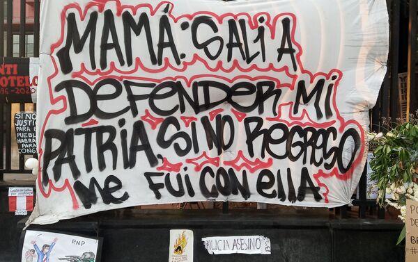 Memorial en honor a Inti Sotelo y Jack Bryan Pintado, asesinados el 14 de noviembre durante la represión policial - Sputnik Mundo