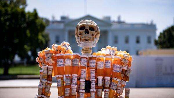 Un esqueleto hecho de botellas de prescripción de oxicontina y metadona frente a la Casa Blanca - Sputnik Mundo