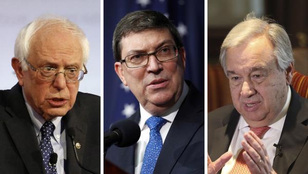 De derecha a izquierda: Bernie Sanders, Bruno Rodríguez, Antonio Guterres - Sputnik Mundo