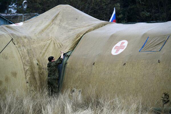 El hospital de campaña móvil desplegado por el Ejército ruso cerca de Stepanakert.  - Sputnik Mundo