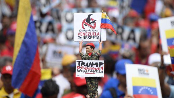 Manifestación en apoyo al presidente Nicolás Maduro y en contra del imperialismo estadounidense. Caracas,  31 de agosto de 2019. - Sputnik Mundo