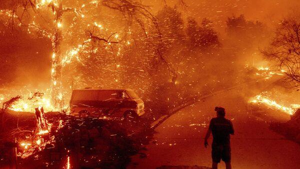 Тушение пожара в общине Сильверадо в Калифорнии - Sputnik Mundo