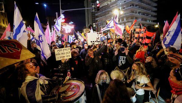 Protestas frente a la residencia del primer ministro israelí - Sputnik Mundo