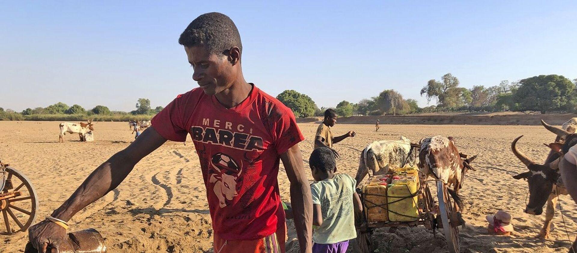Los hombres cavan en busca de agua en el cauce seco del río Mandrare, en Madagascar - Sputnik Mundo, 1920, 06.12.2020
