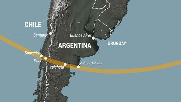 Mapa de la trayectoria de la totalidad del eclipse solar del 14 de diciembre de 2020 en Argentina y Chile - Sputnik Mundo