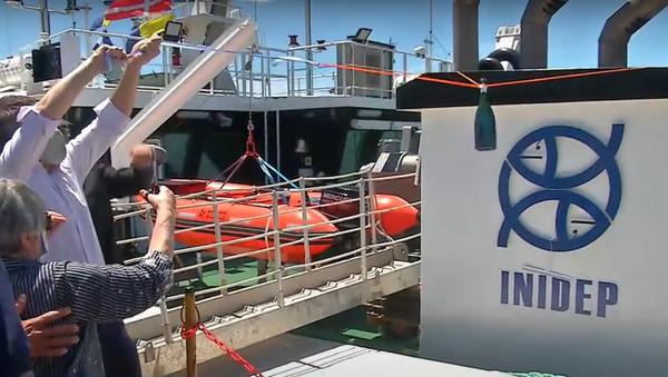 La ceremonia de bautismo del barco Mar Argentino, Mar de Plata. - Sputnik Mundo