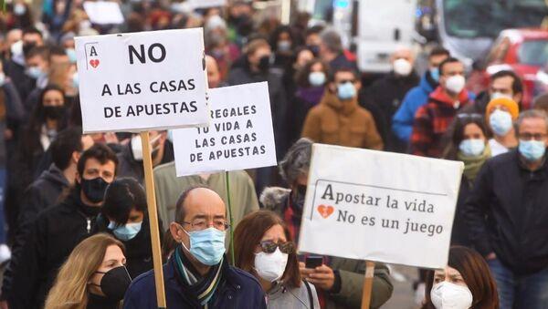 Manifestación en Madrid contra las casas de apuesta - Sputnik Mundo