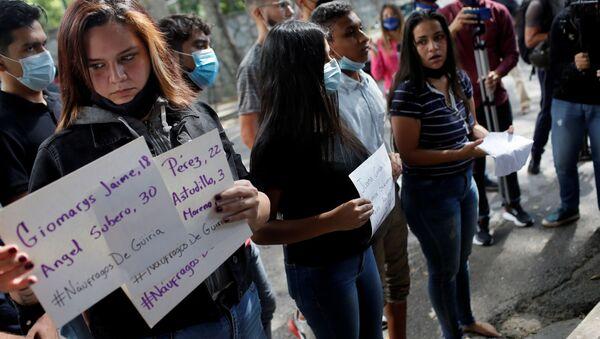 Una protesta cerca de la Embajada de Trinidad y Tobago en Caracas, Venezuela - Sputnik Mundo