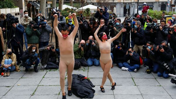 Manifestación de los profesionales de los tablaos flamencos en Madrid  - Sputnik Mundo