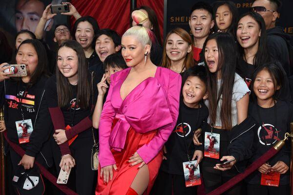 Christina Aguilera en el estreno mundial de la película animada 'Mulan', cuya banda sonora y composición 'Reflection' grabó en 1998 en Hollywood, el 9 de marzo de 2020. - Sputnik Mundo