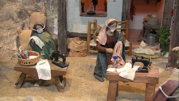 La Virgen María cose mascarillas en un belén español - Sputnik Mundo