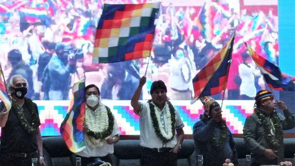 Luis Arce y el expresidente Evo Morales inauguran el  Encuentro de los pueblos y organizaciones del Abya Yala - Sputnik Mundo