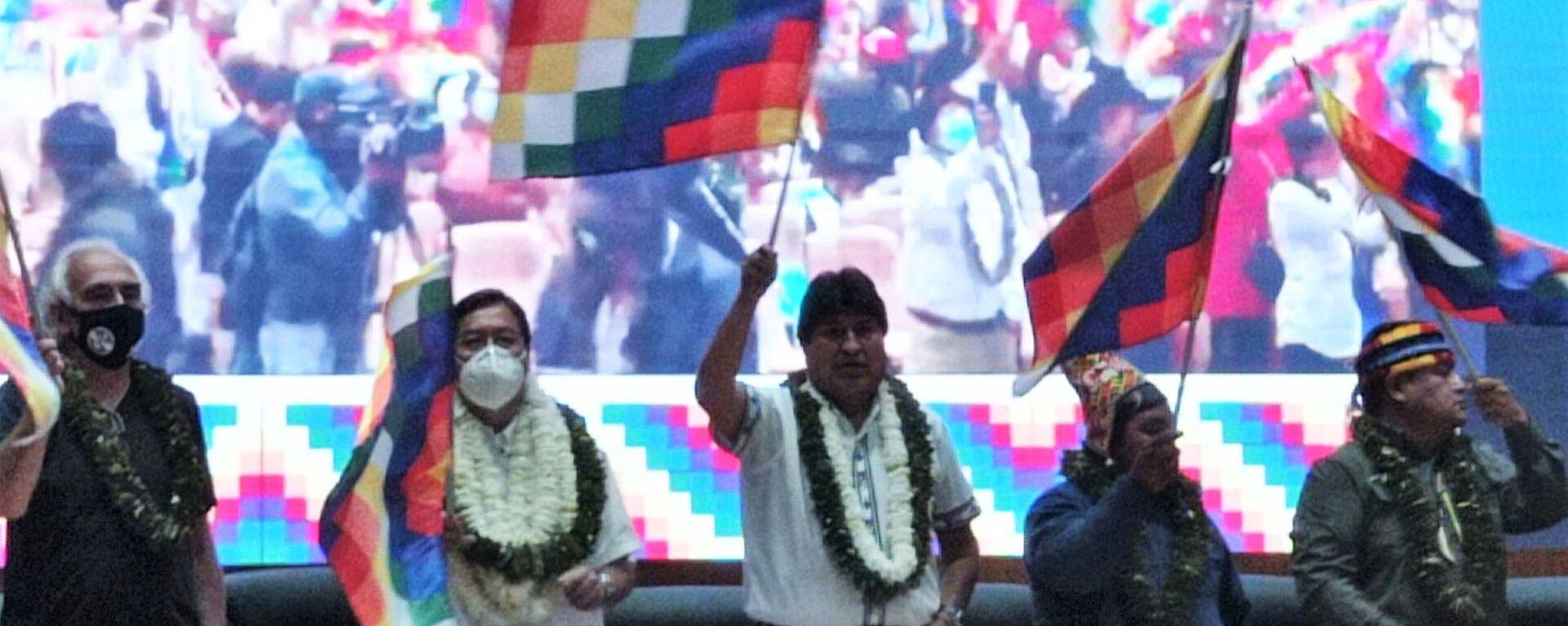 Luis Arce y el expresidente Evo Morales inauguran el  Encuentro de los pueblos y organizaciones del Abya Yala - Sputnik Mundo, 1920, 19.12.2020