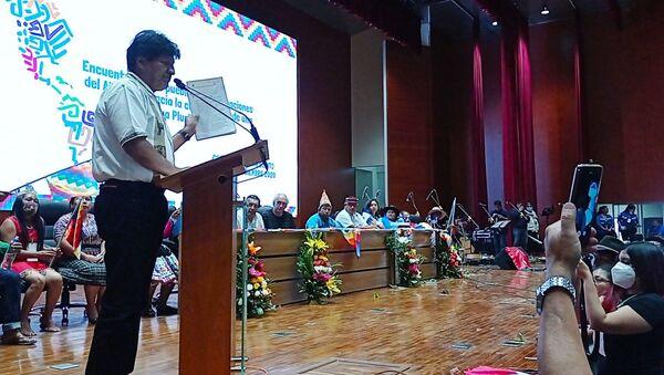 El expresidente boliviano Evo Morales durante el Encuentro de los pueblos y organizaciones del Abya Yala - Sputnik Mundo