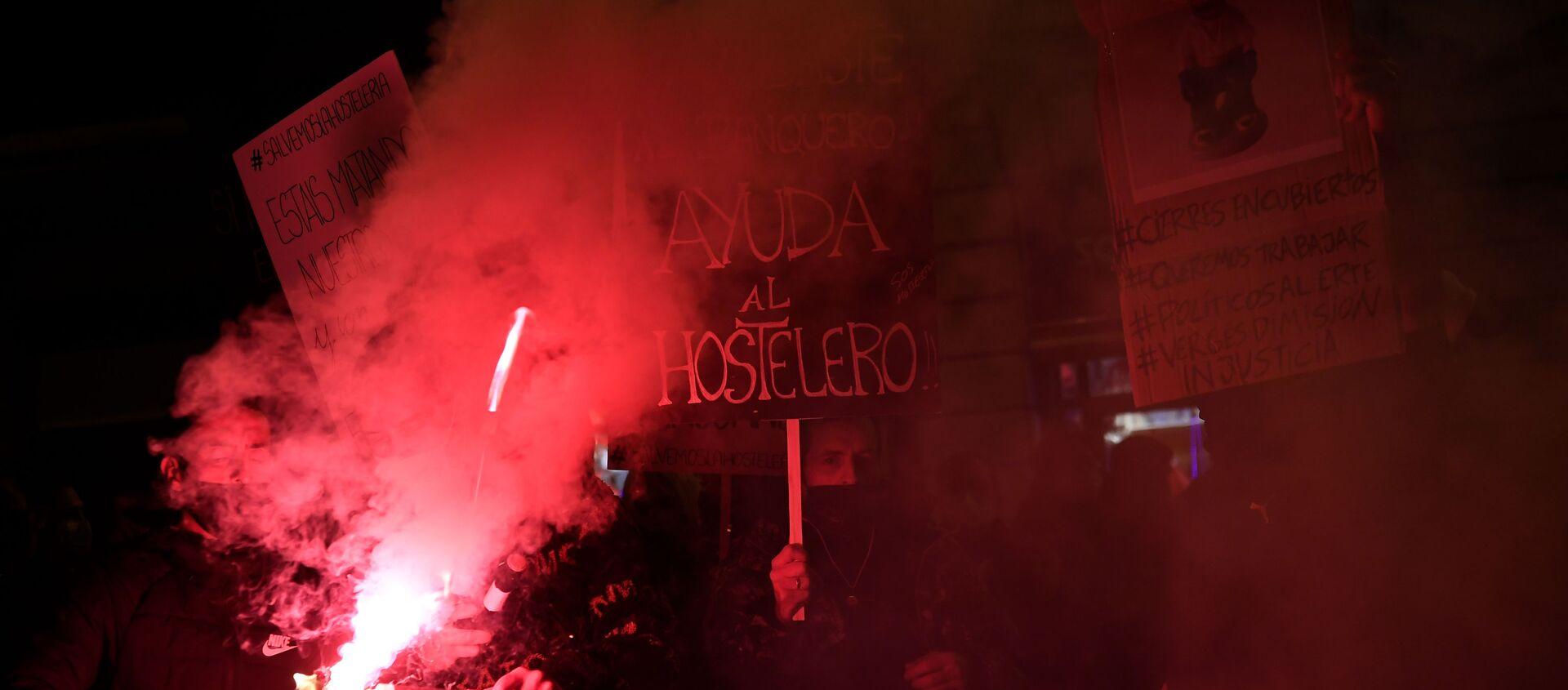 Manifestación de hosteleros en Barcelona el 21 de diciembre - Sputnik Mundo, 1920, 22.12.2020