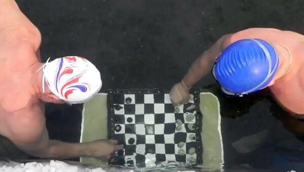 Los aficionados a la natación de invierno juegan al ajedrez en el agua helada - Sputnik Mundo