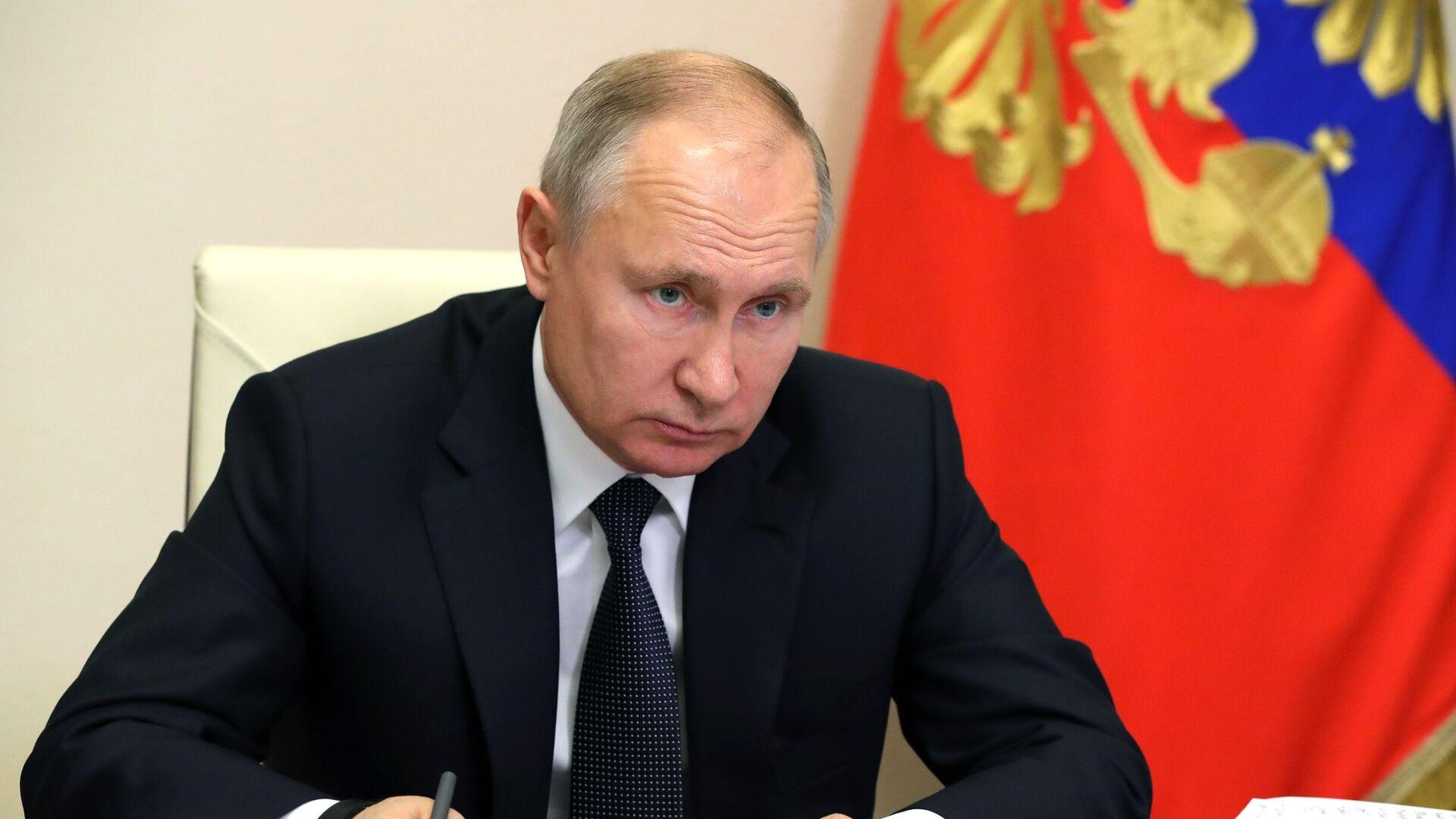 Vladímir Putin, el presidente de Rusia, en una reunión sobre el desarrollo estratégico y los proyectos nacionales - Sputnik Mundo, 1920, 22.06.2021