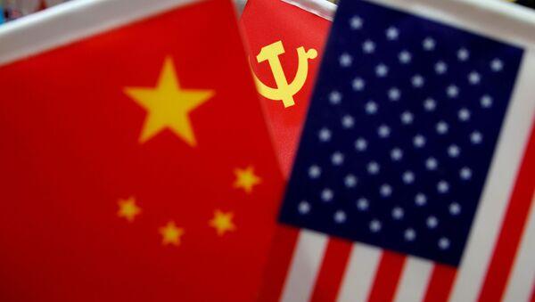 Las banderas de China, el partido comunista chino y EEUU - Sputnik Mundo