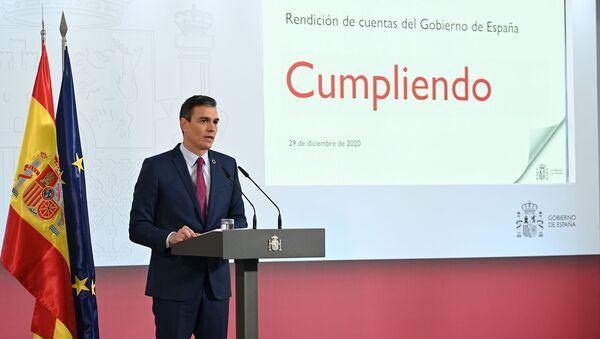 Pedro Sánchez en la rueda de prensa del balance del año - Sputnik Mundo