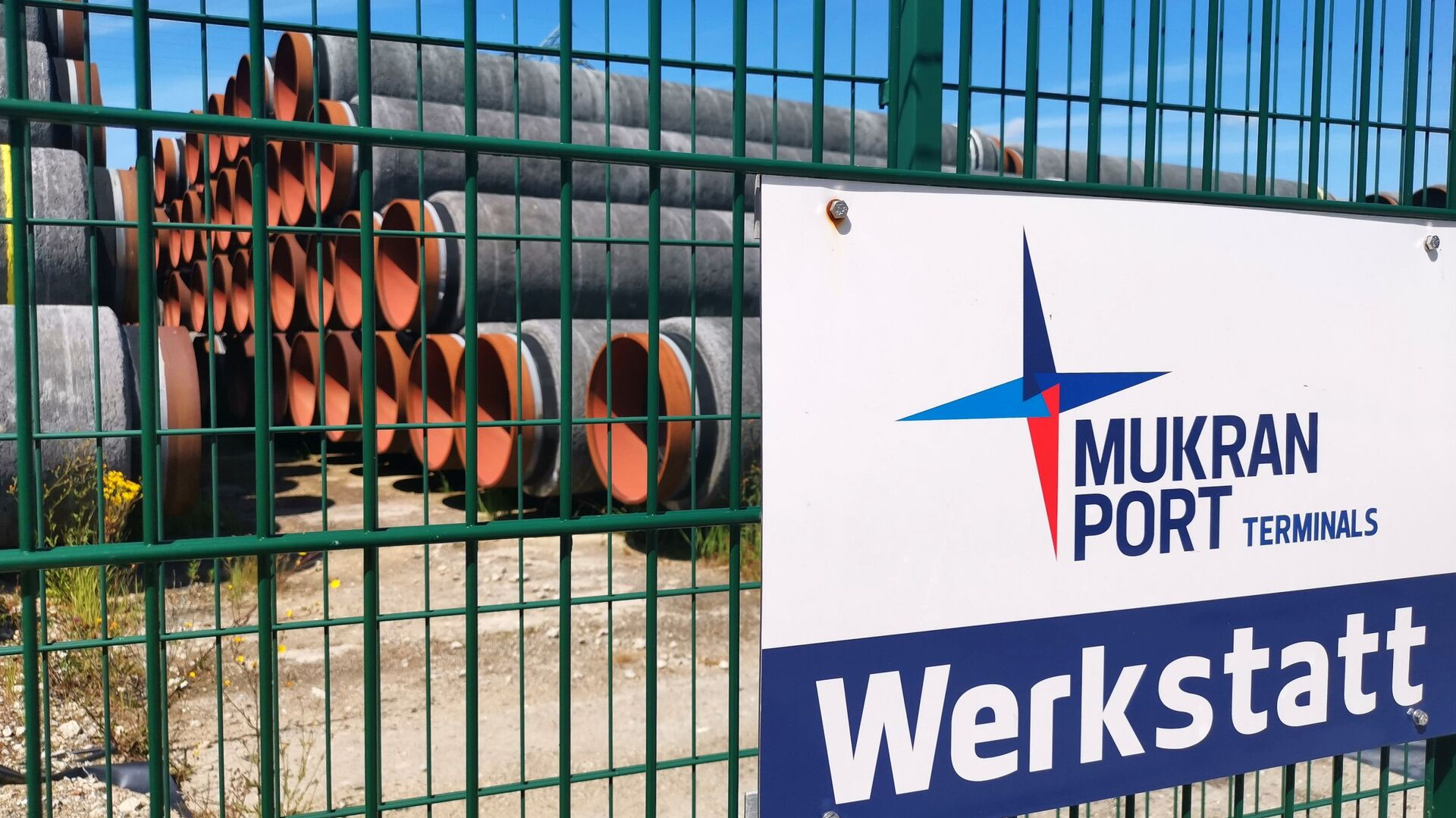 Tuberías en el puerto alemán de Mukran, el centro logístico de las obras del Nord Stream 2 - Sputnik Mundo, 1920, 05.03.2021