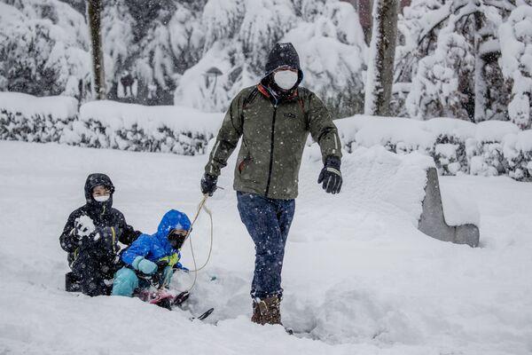 Un hombre lleva a unos niños en un trineo durante una fuerte nevada en Rivas Vaciamadrid, municipio del área metropolitana de Madrid. - Sputnik Mundo