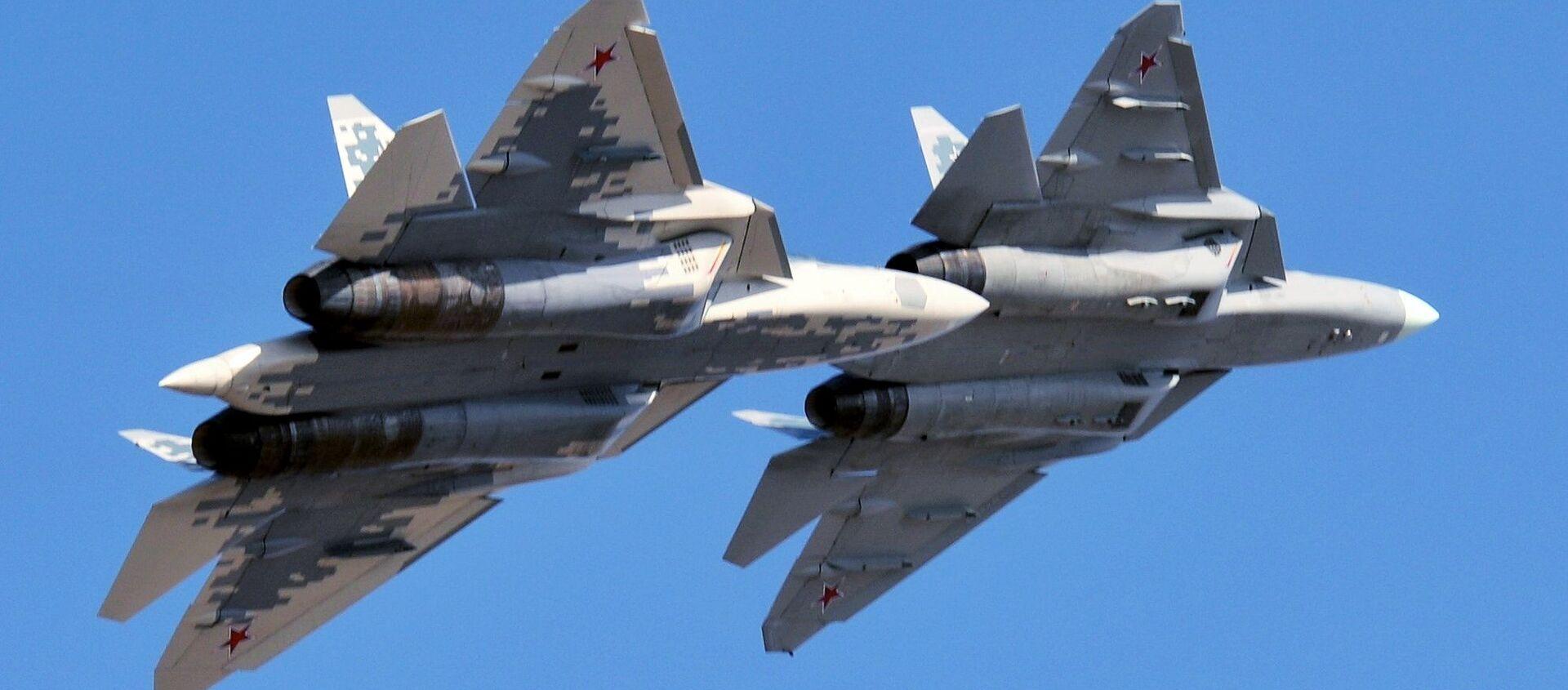 Cazas Su-57 rusos - Sputnik Mundo, 1920, 20.01.2021