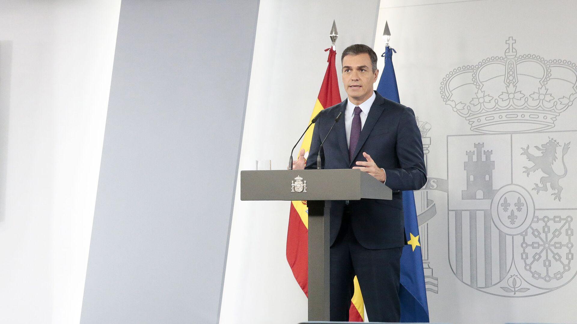 El presidente del Gobierno de España, Pedro Sánchez, en una comparecencia desde La Moncloa - Sputnik Mundo, 1920, 18.05.2021
