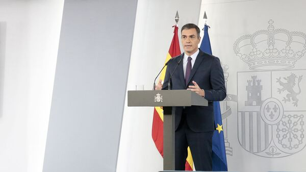 El presidente del Gobierno de España, Pedro Sánchez, en una comparecencia desde La Moncloa - Sputnik Mundo