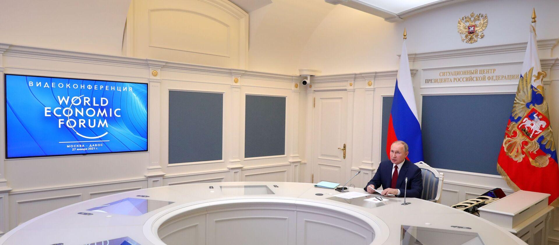 Vladímir Putin, presidente de Rusia, en el Foro Económico Mundial de Davos - Sputnik Mundo, 1920, 27.01.2021