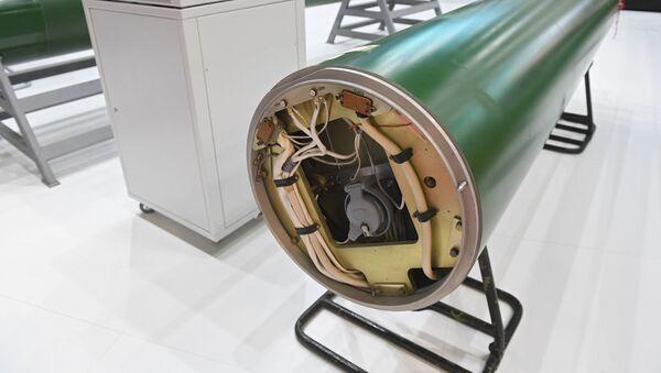 Un torpedo eléctrico teledirigido TE-2 en el Salón Naval Internacional de San Petersburgo, en 2019 - Sputnik Mundo