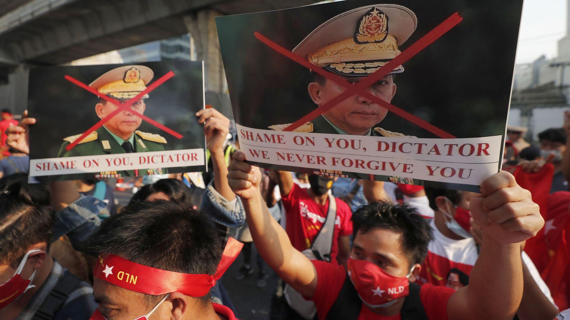 Manifestantes birmanos en Tailandia protestan contra el golpe de Estado en Birmania - Sputnik Mundo, 1920, 19.03.2021