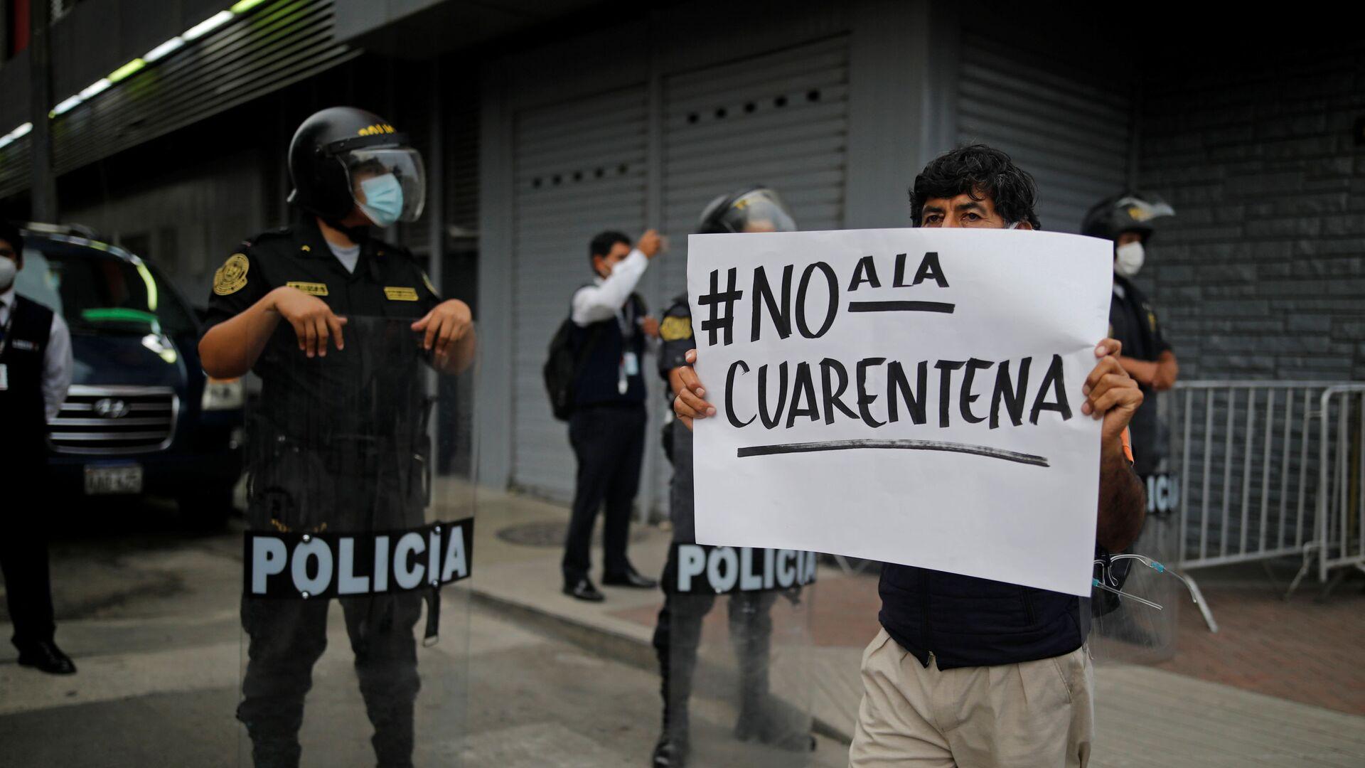 Protestas contra la cuarentena en Perú - Sputnik Mundo, 1920, 24.02.2021