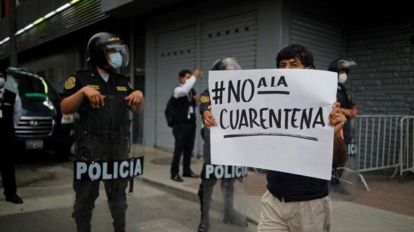 Protestas contra la cuarentena en Perú - Sputnik Mundo