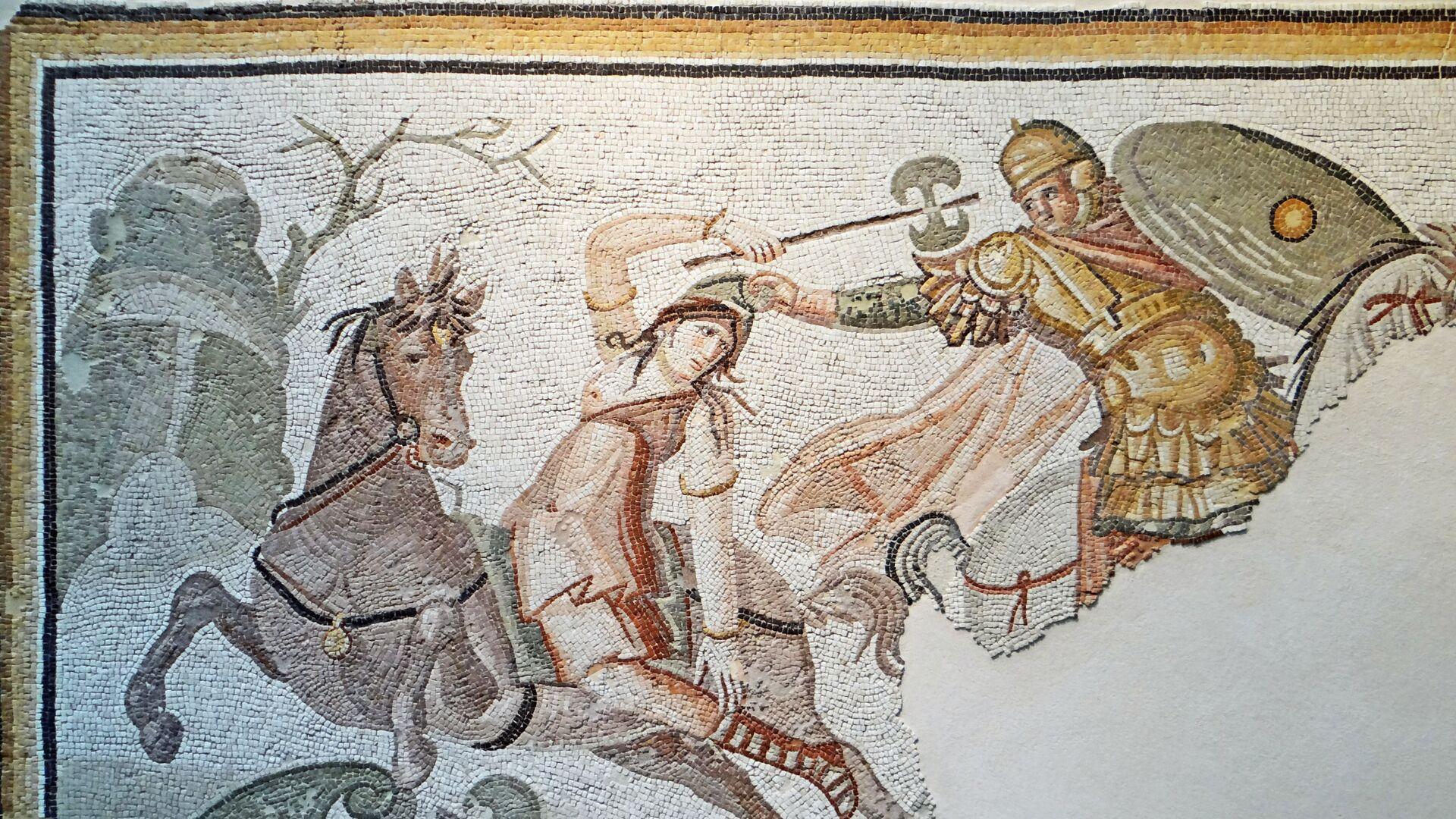 Un mosaico antiguo representando una guerrera amazónica en un combate - Sputnik Mundo, 1920, 07.02.2021