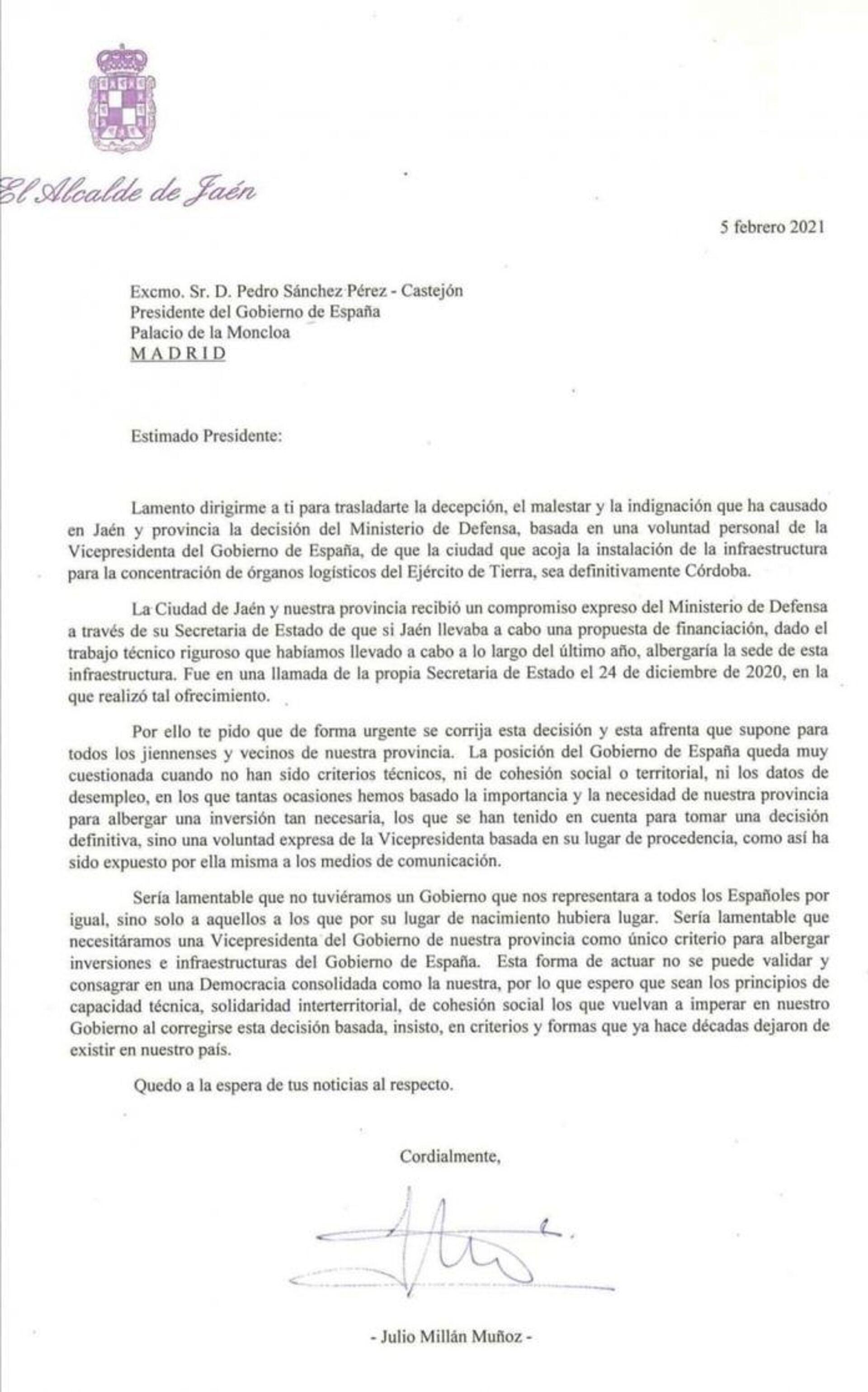 Carta del alcalde de Jaén a Pedro Sánchez - Sputnik Mundo, 1920, 11.02.2021