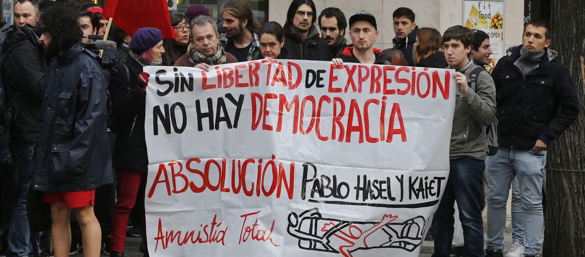 Manifestación de apoyo a Pablo Hasél y por la libertad de expresión en España en 2018 - Sputnik Mundo, 1920, 09.02.2021