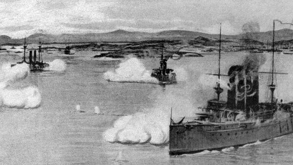 Variag y Koreets participan en una batalla naval contra los buques japoneses - Sputnik Mundo