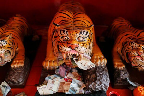 Unos billetes al lado de esculturas de tigres en el templo Dharma Bhakti durante la celebración del Año Nuevo lunar en Yakarta, Indonesia. - Sputnik Mundo