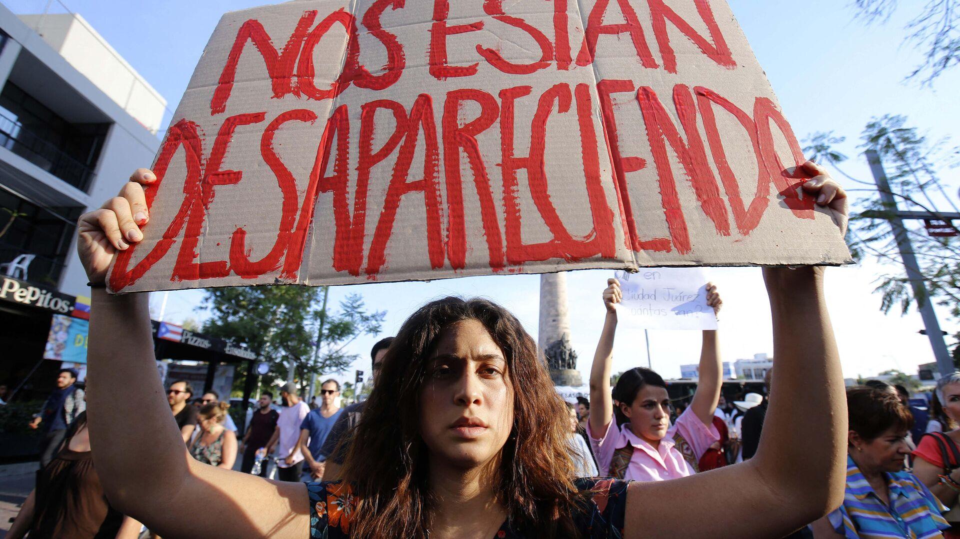 Protesta estudiantil en Guadalajara, Jalisco, contra la violencia y las desapariciones de personas en México - Sputnik Mundo, 1920, 12.02.2021