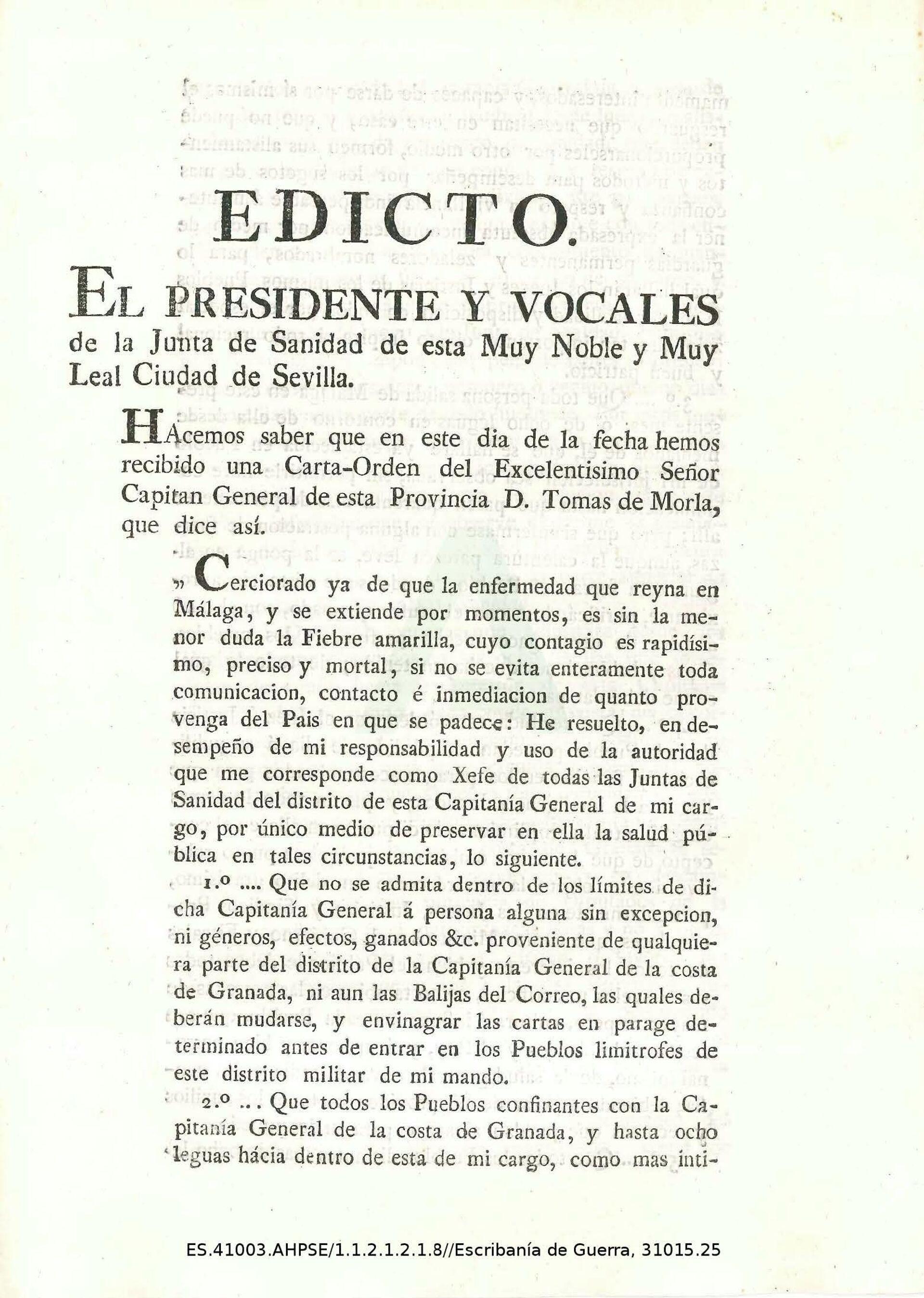 Edicto del Presidente y vocales de la Junta de Sanidad de Sevilla - Sputnik Mundo, 1920, 16.02.2021