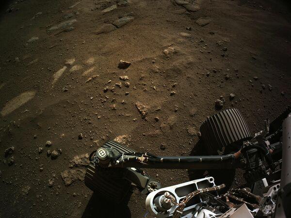 El robot Perseverance Mars Rover envió imágenes captadas desde su cámara de navegación. El Perseverance aterrizó en Marte con la misión de buscar señales de antigua vida microbiana mediante el análisis del suelo. - Sputnik Mundo