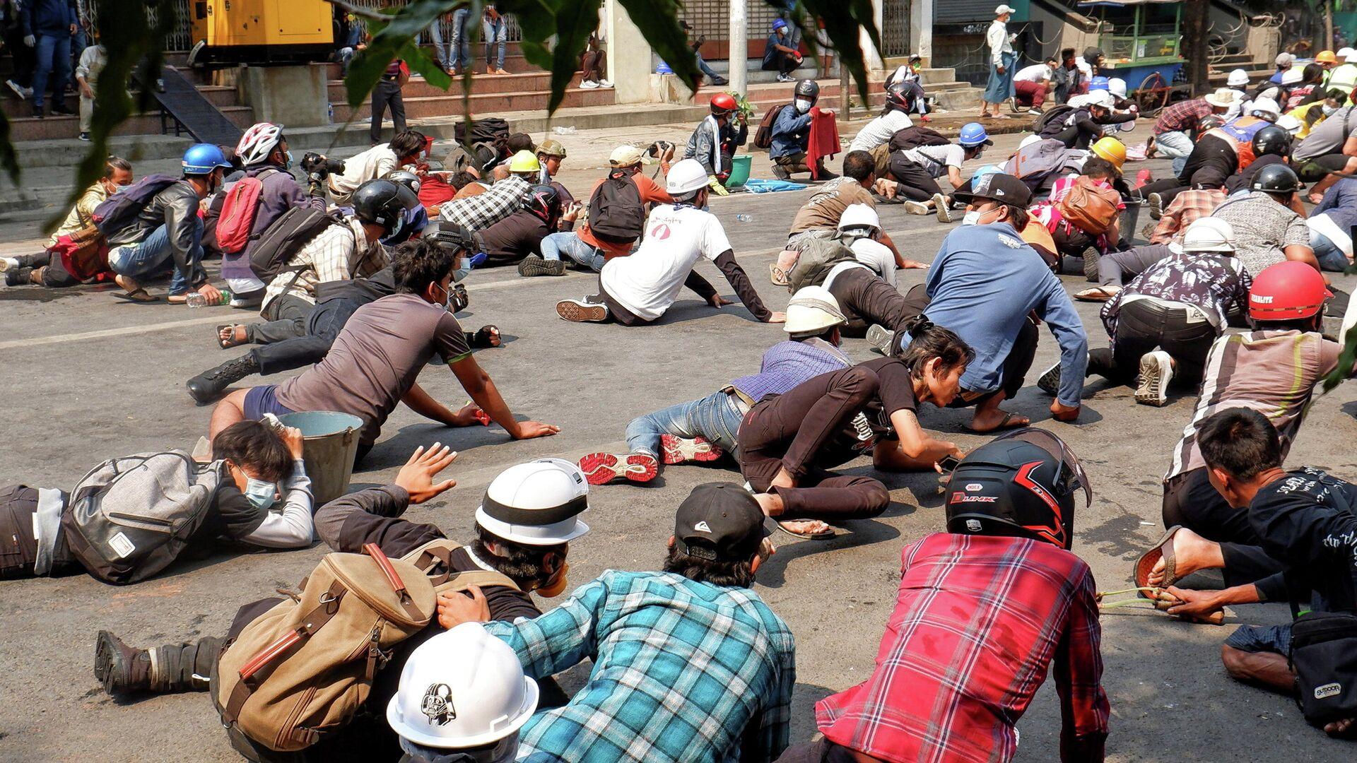 Protestas en Birmania contra del gobierno militar, el 3 de marzo de 2021 - Sputnik Mundo, 1920, 03.03.2021